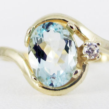 Aquamarine 14k Yellow Gold CZ Accent Oval Ring, March Birthstone Ring, 14k Yellow Gold Ring, Solid Yellow Gold Ring, Aquamarine Oval Ring
