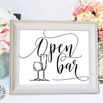 "Open Bar Wedding Sign - 8""x10"" DIY Printable Digital Download - PDF, JPG - cp-1005"