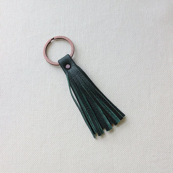 Leather Tassel Keychain / Leather Keyring / Leather Key Chain [Adela Key Chain]
