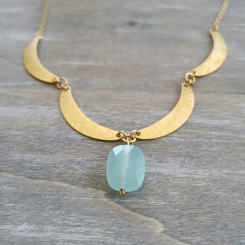 Moroccan inspired hammered metal necklace, Seafoam chalcedony stone necklace, stone pendant necklace, bohemian inspired necklace, boho chic