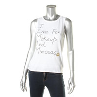 Dreamr Womens Makeup and Mimosas Burnout Graphic Muscle Tank