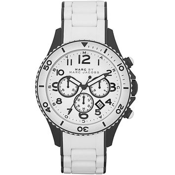 Marc by Marc Jacobs MBM2573 Men' Rock Chrono White Dial Silicone Covered Black Plated Bracelet Watch