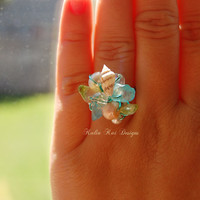 Beach Cluster ring, Beach ring, sea glass ring, pearl ring, wire wrapped ring, teal color wire, shell ring, shells, hawaiian ring