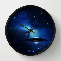 UFO galaxy Wall Clock by Laureenr
