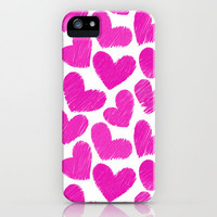 Sketchy hearts in pink and white iPhone & iPod Case by Silvianna