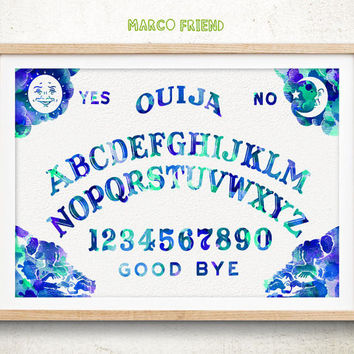 Ouija Board - Watercolor, Art Print, Home Wall decor, Spirit Board Wall Art, Ouija Board Poster