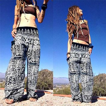 Summer Beach Harem Pants Plus Size High Waist Pants Sexy Yoga Printed Trousers Women