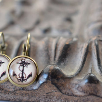 Anchor earrings, bronze earrings, vintage style anchor earrings, lightweight  earrings, homemade jewelry, French lever back earrings