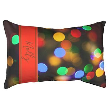 Multicolored Christmas lights. Add text or name. Pet Bed