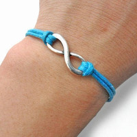 Infinity wish bracelet ropes bracelet women bracelet girls bracelet jewelry bangle made of blue hemp ropes and silver number eight