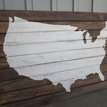 Large United States Map Silhouette on Wood Slats -US Map- Wood Art - Painting - Patriotic, Americana