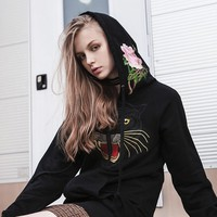 """Gucci"" Women Fashion Casual Tiger Head Flower Embroidery Letter Pattern Print Long Sleeve Zip Cardigan Hooded Sweater Coat"