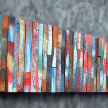 BUILT TO ORDER 12x48 Abstract Colorful Distressed Barn Board Modern Tribal Wall Art Sculpture Wood