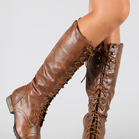 Breckelle Outlaw-13 Military Lace Up Knee High Boot