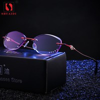 Women Rimless Purple Lens Reading Glasses Female Presbyopic Glasses for Reader Anti-fatigue +1 +1.5 +2 +2.5 +3 +3.5 +4