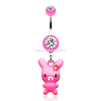 Marshmallow Bunny Belly Button Ring (Pink)