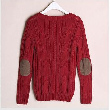 Free Shipping 2016 Autumn And Winter Women Elbow Patch Sweater Ladies Warm sweater Retro Knitted Pullovers Coat
