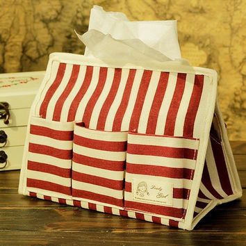 Cotton Linen Storage Multi-functioned Box Stripes Tissue Box [6283598918]