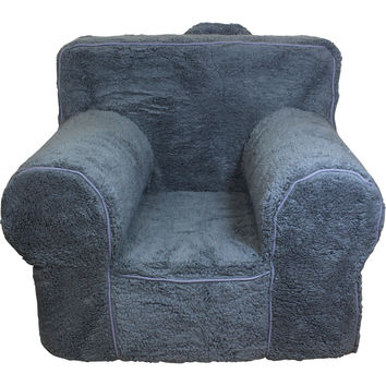 Oversize Grey Sherpa Chair Cover for Foam Childrens Chair