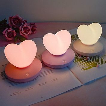 USB Rechargeable Heart LED Touch Control Night Light