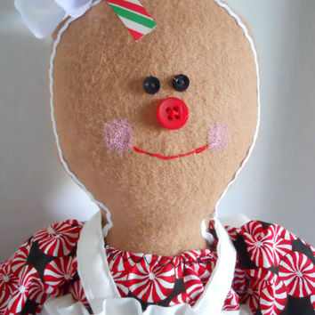 Christmas Rag Doll Gingerbread Girl Cloth Art Doll Made to Order