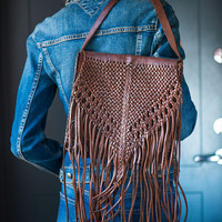 Vintage Fringe Cross Body Bag. Rodeo Bag Genuine Leather Woven. Genuine Distressed Leather Boho Bag. Dark Brown Handmade Bag Burning Man