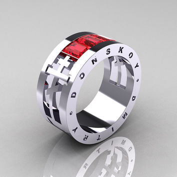 Dmitry Donskoy Mens 14K White Gold Red Sapphire Channel Cluster Wedding Band R419M-14KWGRS