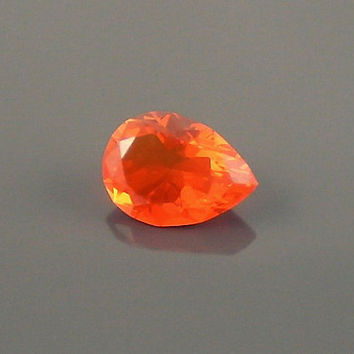 Fire Opal: 1.33ct Red Orange Pear Shape Gemstone, Loose Natural Hand Made Mexican Faceted Precious Gem, Artistic DIY Gemstone Supply, 14k P7