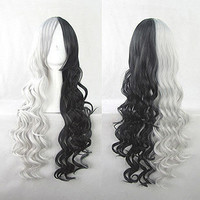 Two-tone Color Wig Black and White Wavy Wig Anime Cosplay Wig Long Wig 85cm Heat Resistant Free Shipping