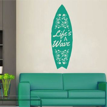 ik2565 Wall Decal Sticker life a wave board surf board Living sports shop stained glass