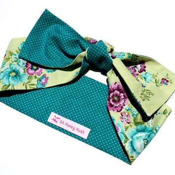 Vintage Inspired Head Scarf, Turquoise, Shabby Chic Floral Print