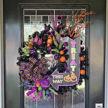 Treat This Way Light-Up Halloween Wreath - Witch Wreath, Halloween Decor, Spooky Wreath, Whimsical Halloween Wreath, Trick or Treat