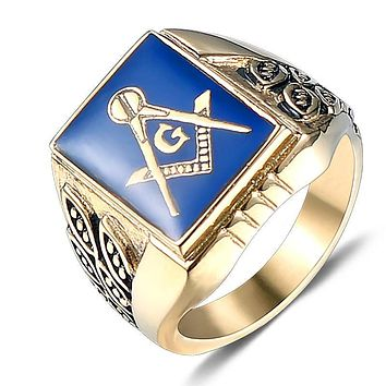 Gold Color Stainless Steel Vintage Masonic Ring