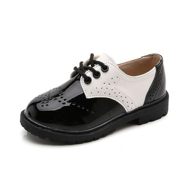 Children Shoes 2017 Spring Autumn New Boys Performance Shoes Black And White Toddler Girl Patent Leather Oxford Baby Dress Shoes