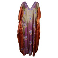 Mogul Womens Kaftan Double Shaded Silk Floral Embroidered Kashmiri Caftan Evening Wear Beach Caftans Dresses Kaftan Maxi Dress Pink Red Resort wear - Walmart.com