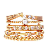 Gold Diamante Twist Finger Tip Ring Multipack