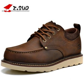 Z. Suo GTY16066 European Fashion Vintage Men's Tooling Shoes Classic Style Low Top Lace Up Real Cow Leather Casual Shoes