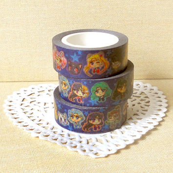 Sailor Moon Washi Tape: Anime Washi Tape, Scrapbook Decoration, Kawaii Masking Tape, Planner Decoration, Colorful Washi Tape, Paper Tapes
