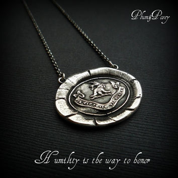 Honor Wax Seal Necklace in Silver Unicorn by PlumAndPoseyInc