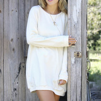Keep Calm & Carefree Ivory Raglan Sweatshirt Dress