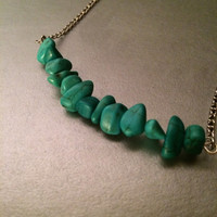 Turquoise chip bar minimalist necklace spiritual meditation chakra crystal healing