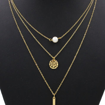 Faux Pearl And Coin Pendant Multirow Charm Necklace