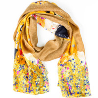 Klimt The Kiss Gold Silk Scarf