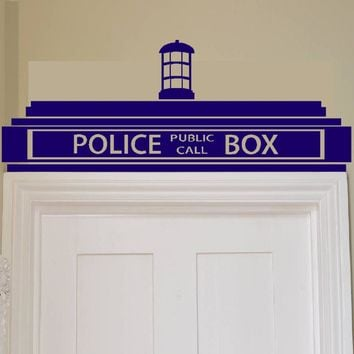free shipping Creative Doctor Who Tardis Police Box Wall Sticker Decor Design Kids Transfer Vinyl H0017