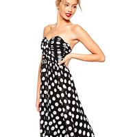 Polka Strapless High Waist Pleated A-Line Midi Dress