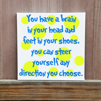 Set of Four Dr Seuss Quotes Kids Room Nursery Baby Shower Gift