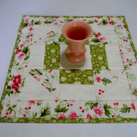 Cottage Chic Quilted Table Topper, Table Runner, Churn Dash, Flowers Roses, Shabby Chic, Lime, Pink
