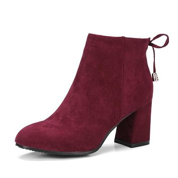 Bowtie Velvet High Heels Short Boots for Women 7252