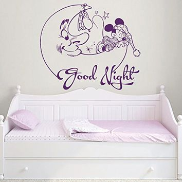 Wall Decal Mickey Mouse Month Good Night Vinyl Sticker Decals Nursery Baby Room Kids Boys Girls Home Decor Bedroom Art Design Interior NS873