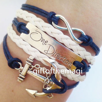 anchor,One Direction & infinity karma Charm Bracelet Antique silver-- wax cords braid Leather bracelet, the best friendship gift.1206